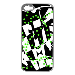 Black, white and green chaos Apple iPhone 5 Case (Silver)