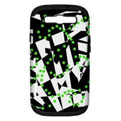 Black, white and green chaos Samsung Galaxy S III Hardshell Case (PC+Silicone)