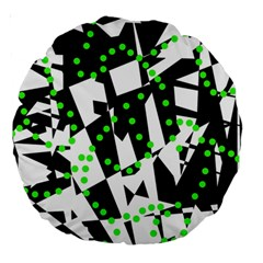 Black, white and green chaos Large 18  Premium Round Cushions