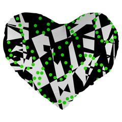 Black, white and green chaos Large 19  Premium Heart Shape Cushions