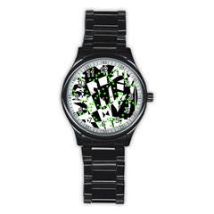 Black, white and green chaos Stainless Steel Round Watch