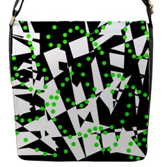 Black, white and green chaos Flap Messenger Bag (S)