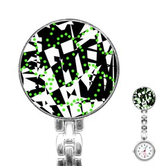 Black, white and green chaos Stainless Steel Nurses Watch