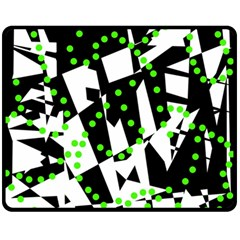 Black, white and green chaos Double Sided Fleece Blanket (Medium)