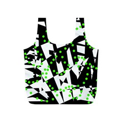 Black, white and green chaos Full Print Recycle Bags (S)