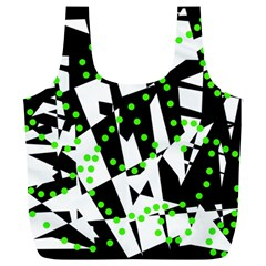 Black, white and green chaos Full Print Recycle Bags (L)