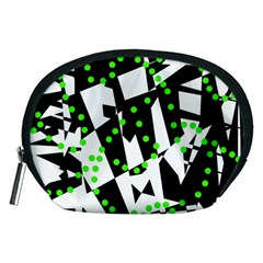 Black, white and green chaos Accessory Pouches (Medium)