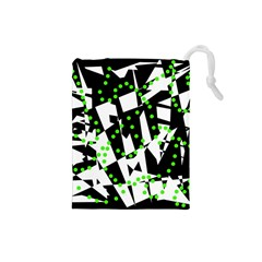 Black, white and green chaos Drawstring Pouches (Small)