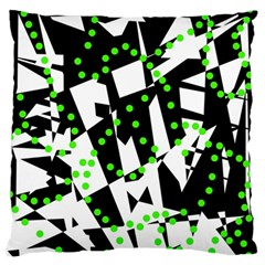 Black, white and green chaos Standard Flano Cushion Case (One Side)