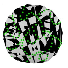 Black, white and green chaos Large 18  Premium Flano Round Cushions