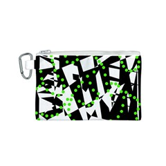 Black, white and green chaos Canvas Cosmetic Bag (S)