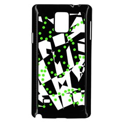 Black, white and green chaos Samsung Galaxy Note 4 Case (Black)