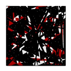 Black, red and white chaos Tile Coasters