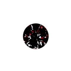 Black, red and white chaos 1  Mini Magnets