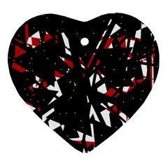 Black, red and white chaos Ornament (Heart)
