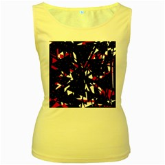 Black, red and white chaos Women s Yellow Tank Top