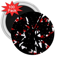 Black, red and white chaos 3  Magnets (100 pack)