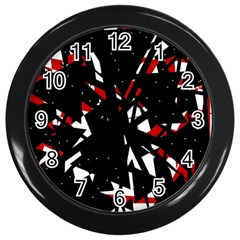 Black, red and white chaos Wall Clocks (Black)