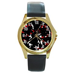 Black, red and white chaos Round Gold Metal Watch