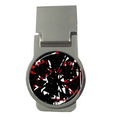 Black, red and white chaos Money Clips (Round)