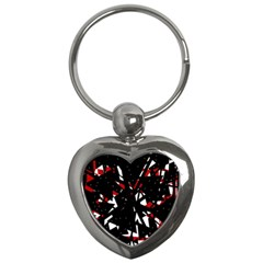 Black, red and white chaos Key Chains (Heart)