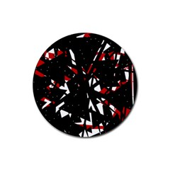 Black, red and white chaos Rubber Round Coaster (4 pack)