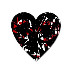 Black, red and white chaos Heart Magnet