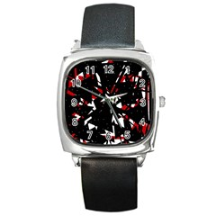 Black, red and white chaos Square Metal Watch