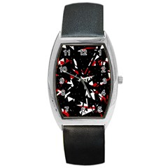 Black, red and white chaos Barrel Style Metal Watch