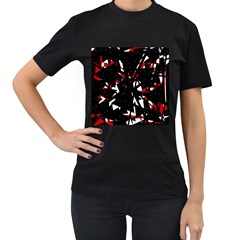 Black, red and white chaos Women s T-Shirt (Black) (Two Sided)