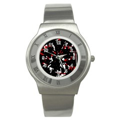 Black, red and white chaos Stainless Steel Watch