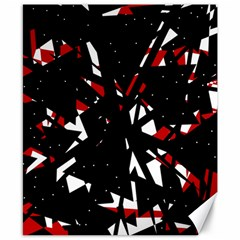 Black, red and white chaos Canvas 8  x 10