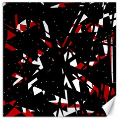 Black, red and white chaos Canvas 12  x 12