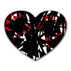 Black, red and white chaos Heart Mousepads