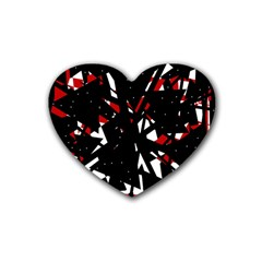 Black, red and white chaos Rubber Coaster (Heart)