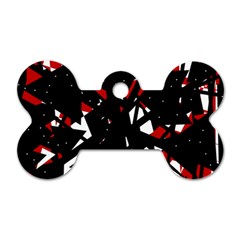 Black, red and white chaos Dog Tag Bone (Two Sides)