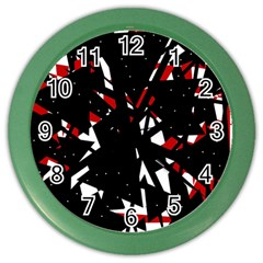 Black, red and white chaos Color Wall Clocks