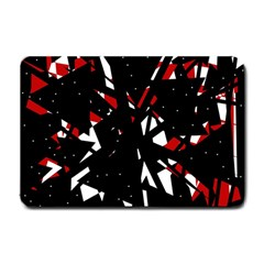 Black, red and white chaos Small Doormat