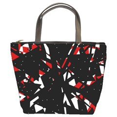 Black, red and white chaos Bucket Bags