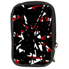 Black, red and white chaos Compact Camera Cases