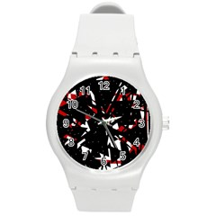 Black, red and white chaos Round Plastic Sport Watch (M)