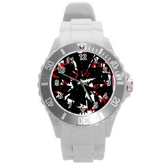 Black, red and white chaos Round Plastic Sport Watch (L)