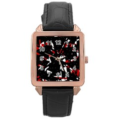 Black, red and white chaos Rose Gold Leather Watch