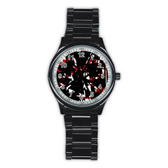 Black, red and white chaos Stainless Steel Round Watch