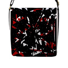 Black, red and white chaos Flap Messenger Bag (L)