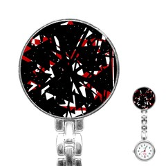 Black, red and white chaos Stainless Steel Nurses Watch