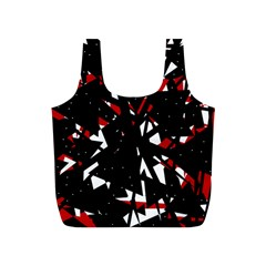 Black, red and white chaos Full Print Recycle Bags (S)
