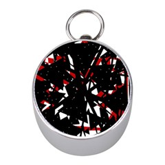 Black, red and white chaos Mini Silver Compasses