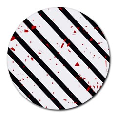 Elegant black, red and white lines Round Mousepads