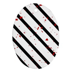 Elegant black, red and white lines Ornament (Oval)